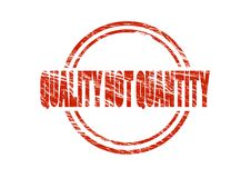 Quality not quantity Red vintage rubber stamp isolated on white background Stock Image