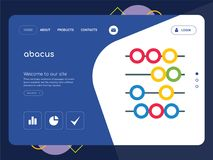 Abacus Landing page website template design. Quality One Page abacus Website Template Vector Eps, Modern Web Design with flat UI elements and landscape Stock Photography
