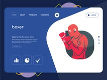 Boxer Landing page website template design. Quality One Page boxer Website Template Vector Eps, Modern Web Design with flat UI elements and landscape Royalty Free Stock Photography