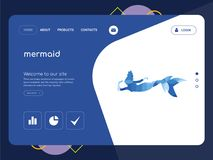 Mermaid Landing page website template design. Quality One Page mermaid Website Template Vector Eps, Modern Web Design with flat UI elements and landscape Royalty Free Stock Images