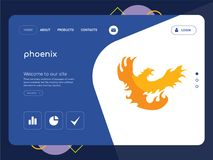 Phoenix Landing page website template design. Quality One Page phoenix Website Template Vector Eps, Modern Web Design with flat UI elements and landscape Royalty Free Stock Image