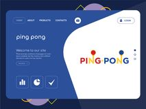 Ping pong Landing page website template design. Quality One Page ping pong Website Template Vector Eps, Modern Web Design with flat UI elements and landscape Royalty Free Stock Photography