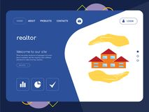 Realtor Landing page website template design. Quality One Page realtor Website Template Vector Eps, Modern Web Design with flat UI elements and landscape Royalty Free Stock Photos