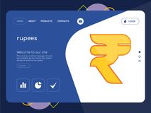 Rupees Landing page website template design. Quality One Page rupees Website Template Vector Eps, Modern Web Design with flat UI elements and landscape Stock Photography