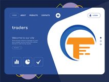 Traders Landing page website template design. Quality One Page traders Website Template Vector Eps, Modern Web Design with flat UI elements and landscape Stock Image