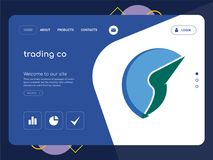 Trading co Landing page website template design. Quality One Page trading co Website Template Vector Eps, Modern Web Design with flat UI elements and landscape Stock Photos