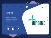 Turbine Landing page website template design. Quality One Page turbine Website Template Vector Eps, Modern Web Design with flat UI elements and landscape Royalty Free Stock Photography