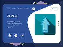 Upgrade Landing page website template design. Quality One Page upgrade Website Template Vector Eps, Modern Web Design with flat UI elements and landscape Royalty Free Stock Image