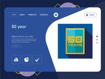 50 year Landing page website template design. Quality One Page 50 year Website Template Vector Eps, Modern Web Design with flat UI elements and landscape Stock Photos