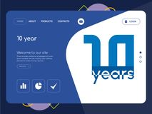 10 year Landing page website template design. Quality One Page 10 year Website Template Vector Eps, Modern Web Design with flat UI elements and landscape Royalty Free Stock Photography