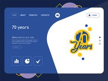 70 years Landing page website template design. Quality One Page 70 years Website Template Vector Eps, Modern Web Design with flat UI elements and landscape Royalty Free Stock Images