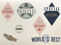 Quality and Original labels Stock Images