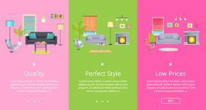 Quality and Perfect Style Page Vector Illustration. Quality and perfect style web pages with text representing rooms collection with necessary furniture and Royalty Free Stock Image