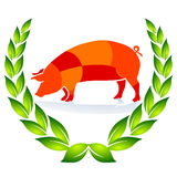 Quality Pig Sign. Ecologically agriculture Royalty Free Stock Images