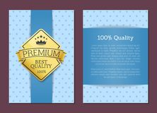 100 Quality Poster Design Golden Label Best Cover. 100 quality poster design golden label with best quality premium sticker with place for text, template of vector illustration
