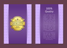 Quality Premium Best Choice Poster Vector Label. 100 quality premium best choice super quality promo certificate with golden labe, sticker award on poster vector royalty free illustration