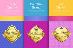 100 Quality Premium Brand Quality Best Labels. 100 quality premium brand best choice reward golden labels sticker awards, vector illustration certificates Vector Illustration
