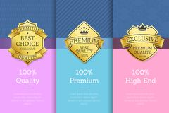 100 Quality Premium High End Standard Posters. With gold emblems, guarantee sign logotypes vector illustration on color backgrounds in flat style Royalty Free Stock Photos