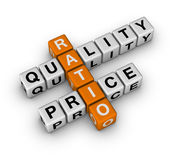 Quality and Price Ratio. (3D crossword orange series royalty free illustration