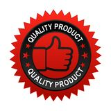 Quality product label. Vector illustration of quality product label with thumbs up sign. stamp or seal on isolated white background royalty free illustration