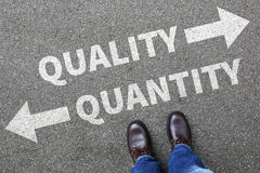 Quality quantity success choice choose business concept business. Man decision stock image