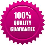 Quality quarantee seal stamp pink. Vector illustration isolated on white background - quality guarantee seal stamp pink Royalty Free Stock Image