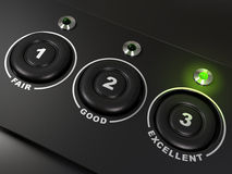 Quality questionnaire. Over a black background with the words fair, good, and excellent, there is three buttons. The led on the right is light up. There is Royalty Free Stock Images