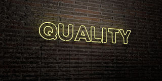 QUALITY -Realistic Neon Sign on Brick Wall background - 3D rendered royalty free stock image. Can be used for online banner ads and direct mailers Royalty Free Stock Photo