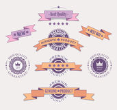 Quality retro labels and ribbons Royalty Free Stock Images
