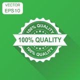 100% quality rubber stamp icon. Business concept 100 percent qua. Lity stamp pictogram. Vector illustration on green background with long shadow Stock Illustration