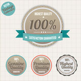 Quality and satisfaction guarantee badges. Satisfaction Guarantee and Premium Quality badges, vector vintage collection Stock Image