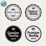 Quality and satisfaction guarantee badges. Satisfaction Guarantee and Premium Quality badges, black and white minimal vector vintage collection Royalty Free Stock Image