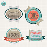 Quality and satisfaction guarantee badges. Set of Premium Quality and Satisfaction Guarantee badges, vector vintage collection Royalty Free Stock Photos