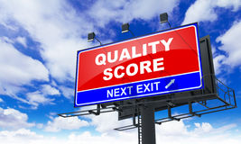 Quality Score on Red Billboard. Stock Photography