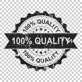 100% quality scratch grunge rubber stamp. Vector illustration on. Isolated transparent background. Business concept 100 percent quality stamp pictogram Royalty Free Stock Photos