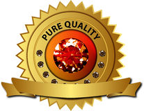 Quality seal with diamonds and banner. Golden seal for luxury products or services with a big ruby and diamonds isolated on a white backdrop with a golden banner Stock Photography
