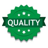Quality seal green. Vector illustration of quality seal green star on isolated white background royalty free illustration
