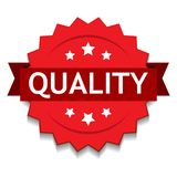 Quality seal red. Vector illustration of quality seal red star on isolated white background stock illustration
