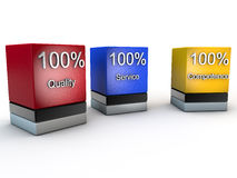Quality Service and Competence. 100% Quality Service and Competence over white Background Royalty Free Stock Image