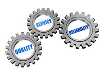 Quality, service, reliability in silver grey gears Royalty Free Stock Images