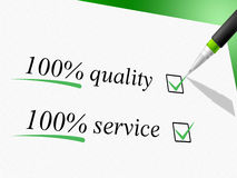 Quality And Service Represents Hundred Percent And Absolute Royalty Free Stock Image