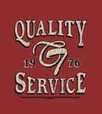 `quality, service` typography, sporting tee shirt graphics stock illustration