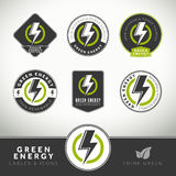Quality set of green energy labels and badges Royalty Free Stock Photos