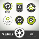 Quality set of recycling labels and badges Royalty Free Stock Image