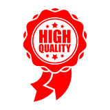 Quality sign template. Red ribbon symbol. Rubber Seal.  Royalty Free Stock Images