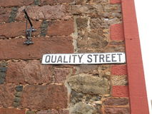 Quality Street Sign Royalty Free Stock Images