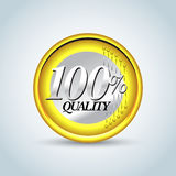 100% quality in style of one euro coin. Guarantee label, stamp, banner, badge, t-shirt design . Vector isolated design Stock Photo