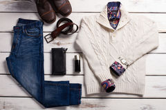 Quality stylish men's winter clothes. Royalty Free Stock Image