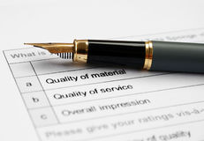 Quality survey form Stock Photo