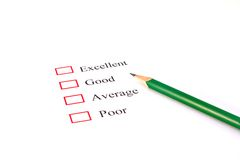 Quality survey form Royalty Free Stock Photography